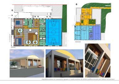 Ristrutturazione di ex consorzio agrario con realizzazione di centro polifunzionale per minori ed anziani con asilo, palestra, sale ricreative, ambulatorio ed area giochi all'aperto.