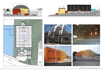 Costruzione di impianto sportivo con campo da gioco per basket, pallavolo e calcetto, con adiacente blocco servizi con spogliatoio, sala per ginnastica e bar