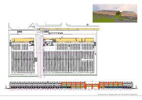 Costruzione di capannoni adibiti a funzioni logistiche e direzionali ad essi connesse: superficie coperta totale 32.000 mq, superficie esterna di pertinenza 20.000 mq