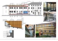 Ristrutturazione di edificio municipale con rifacimento di facciate e copertura. Progettazione di un nuovo corridoio vetrato di collegamento esterno e restauro del giardino storico.